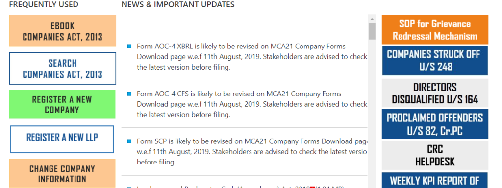 MCA Update and Notification.